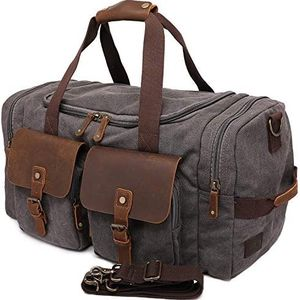 Travel Duffel Bags Canvas Weekender Bag and Genuine Leather Overnight Bag for Men Women, Large Travel Carry on Tote Bag with shoe compartment for Sale in Marietta, GA