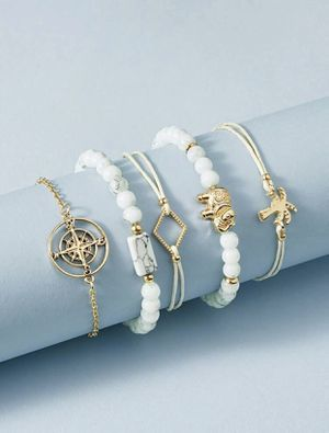 Gorgeous NEW 5 piece compass, elephant and palm tree bracelet set for Sale in San Diego, CA