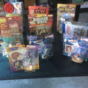 Variety Of Figurines From All Around The year 2000 Wolverine Nomad Pedro Putski Vince Harry Potter Bill Russell Curt Schilling for Sale in Palm Harbor, FL