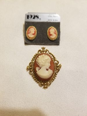 Vintage Cameo earrings and brooch for Sale in Richmond, VA