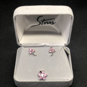 Pink Sapphire With Diamond Earrings And Pendant for Sale in Monrovia, CA