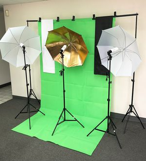 New $80 Photo Set Studio Kit w/ Backdrop Stand, 3x Muslin Cloth, 3x Umbrella Lighting and Bulbs for Sale in South El Monte, CA