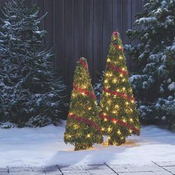 Pre-Lit Light Up Topiary Winter Garden Cone Trees 2 Piece Set for Sale in Los Angeles,  CA