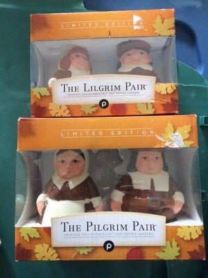 The Pilgram Pair - Pilgrim and Lilgrim - 2 Pairs Thanksgiving Salt & Pepper Shakers - Brand new for Sale in Cape Coral, FL