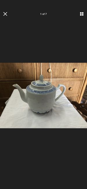 Chinese Glazed Blue and White Teapot with Lid for Sale in Delray Beach, FL