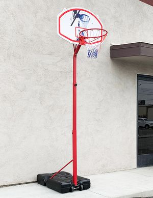 "New, $75 Basketball Hoop w/ Stand Wheels, Backboard 32""x23"", Adjustable Rim Height 6' to 8' for Sale in Whittier, CA"