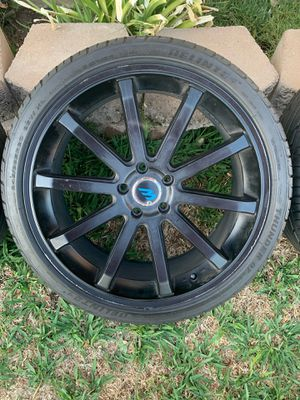 "20"" black rims with tires for Sale in Ontario, CA"