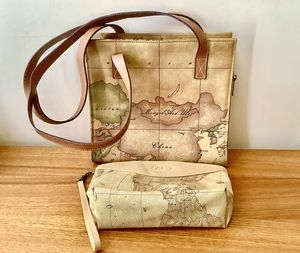 Alviero Martini I A Classe Map Tote Bag 2 Long Strap Handles + Makeup Case made in Italy 🇮🇹 for Sale in Alpharetta, GA