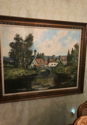 Bavarian Village Scene oil on canvas for Sale in Morton, IL