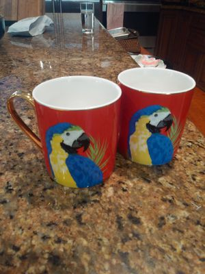 Pair of Chinese English Designed Fine China Coffee Mugs for Sale in Sarasota, FL