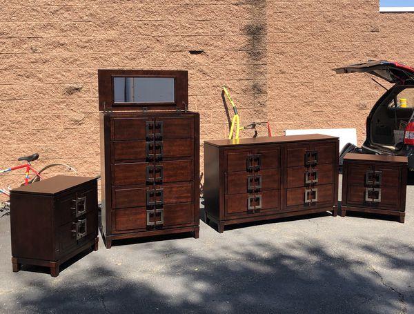 Complete hardwood queen bedroom set