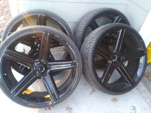 Black 5 lug 26 inch rims still look brand new Great Deal for Sale in Grandview, MO