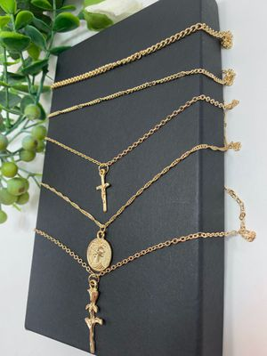 Rose Flower Cross Round Chain Pendant Multilayer Necklace for Sale in Irvine, CA