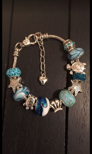 "7"" Ocean Wave 925 Silver Plated Charm Bracelet with Murano Glass Beads and Austrian Crystal Beads (seashell, turtle, starfish, heart) for Sale in Riverside, CA"