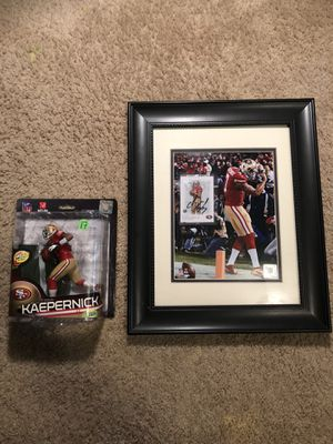 Colin Kaepernick framed photo with SIGNED ROOKIE CARD and action figure for Sale in Fulton, MD