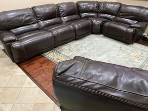 100% FULL GRAIN BEAUTIFUL LEATHER RECLINING SECTIONAL COUCH PERFECT CONDITION for Sale in Upland, CA