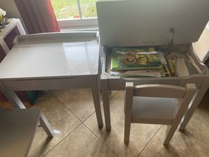 2 Melissa and doug desk and chairs gray for Sale in Winter Park, FL
