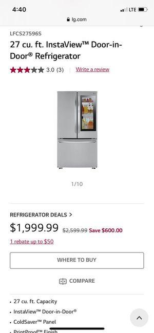 27 cu. ft. LG Instabiew Door-in-Door Refrigerator for Sale in Columbus, OH