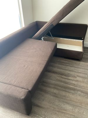 IKEA sofa and 3 pillows only with storage for Sale in Doral, FL