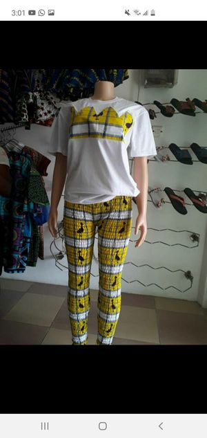 African print stretch pant and shirt - size 6 for Sale in Baltimore, MD