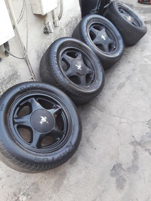 Mustang pony rims foxbody notch gt cobra 5.0 303 351 4 lug rims for Sale in Los Angeles, CA