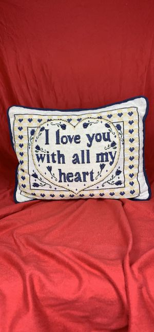 """Brand New Pillow """"I love you with all my heart """" for Sale in Atlanta, GA"""
