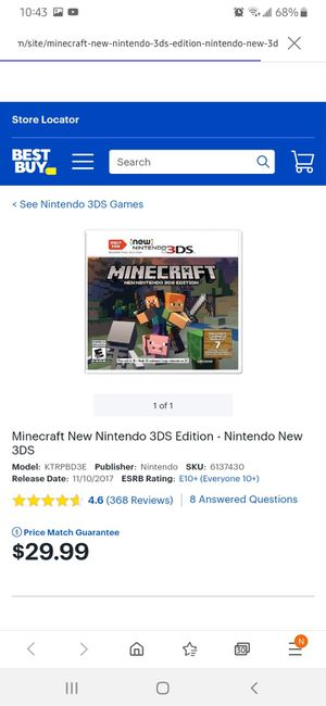 NEW SEALED MINECRAFT NINTENDO 3DS MUST PICK UP RIVERSIDE CA 92507 $15.00 BUCKS for Sale in Riverside, CA