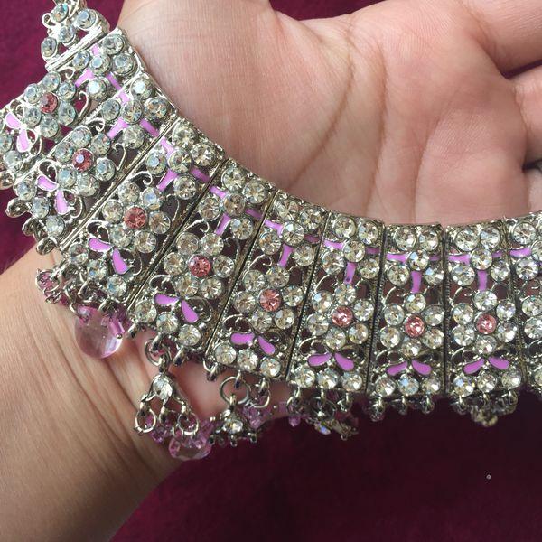 Gold plated Indian Kundan jewelry set tikka earrings bridal wedding party engagement