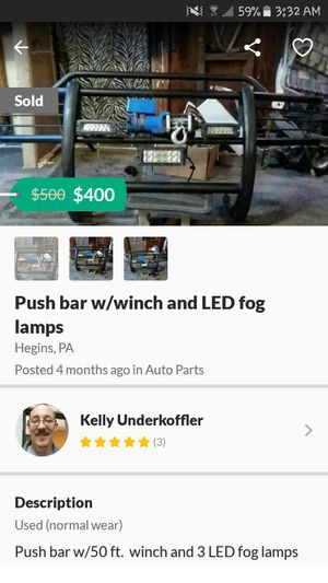 Push bar with a winch and led lights. for Sale in Tower City, PA