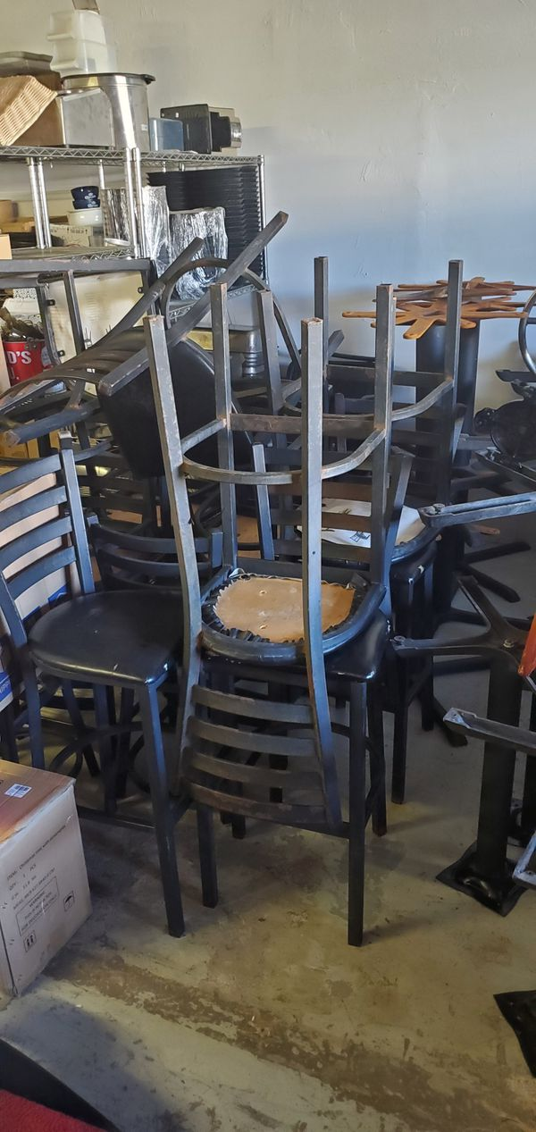 Restaurant tables, bar tables, and high chairs
