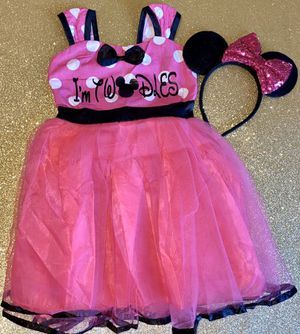 """Minnie Mouse """"I'm TWODLES"""" 2nd Birthday Dress & Sequin Ears 2T/3T for Sale in Long Beach, CA"""