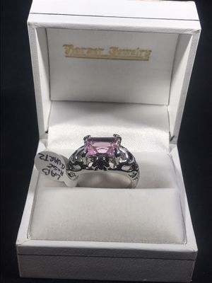 NEW SZ 8 - Silver plated 8.5 rose quartz lab created gemstones women's ring for Sale in Indianapolis, IN
