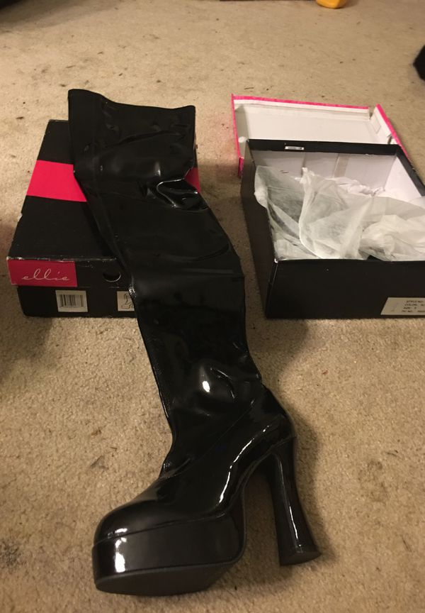 2 sexy new pairs Halloween boots size 9 vinyl nurse & black chunky heel thigh high boots New! Great for Halloween costumes or to a club