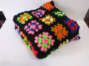 Hand Crocheted Granny Square Afghan 60x60 Black and Multi Color Throw Blanket for Sale in Dallas, TX