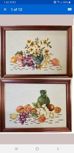 2 Framed Finished Needlepoint Flowers Floral Fruit Pictures for Sale in Fuquay-Varina, NC