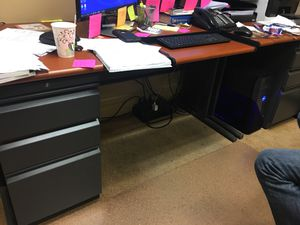 Metal Desk with Side File Cabinet for Sale in Tampa, FL