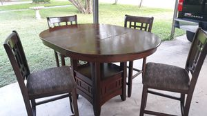 Bar height table with extension leaf and 4 chairs for Sale in San Antonio, TX