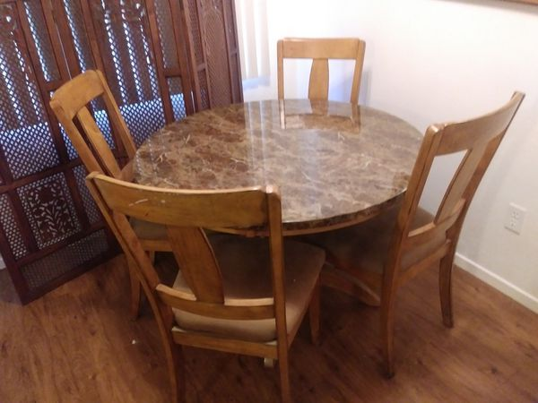 Wood dining room table set 4 wood chairs