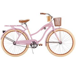 Huffy 26 inch ladies women's pink cruiser bike with basket and cup holder for Sale in Garden City, MI