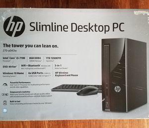 BRAND NEW - HP Slim 270-p043w DesktopTower, Intel Core i3-7100 Processor, 8GB Memory, 1TB Hard Drive, Wireless Keyboard and Mouse, Windows 10 for Sale in Nashville, TN