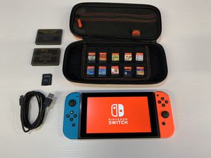 Nintendo Switch + Neon Red and Blue Controllers + 10 Games for Sale in Fremont, CA