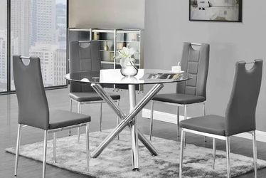 5 PCS Noland modern dining table set, available in 2 colors $429.00 Hot Buy! In Stock ! Free Delivery 🚚 for Sale in Chino,  CA