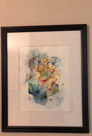 Abstract art - Watercolor on paper 12x18 with frame for Sale in Bellevue, WA