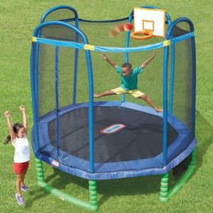 Little Tikes 10-Foot Trampoline, with Basketball Hoop, Blue/Green for Sale in Houston, TX