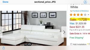 White Leather Two-Piece Sectional Couch for Sale in Santa Clara, CA