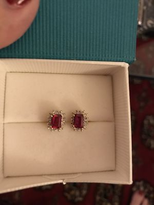 1.2 carat ruby and diamond earrings. Set in 14k gold for Sale in Los Angeles, CA
