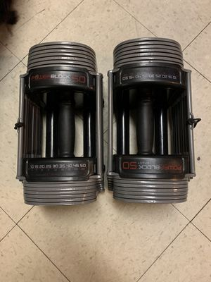 Dumbbells, Adjustable. PowerBlock 50. for Sale in Cleveland, OH