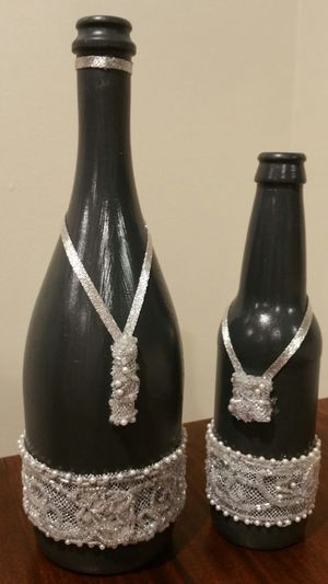 Decorated bottle - set of 2 for Sale in Lawrenceville, GA