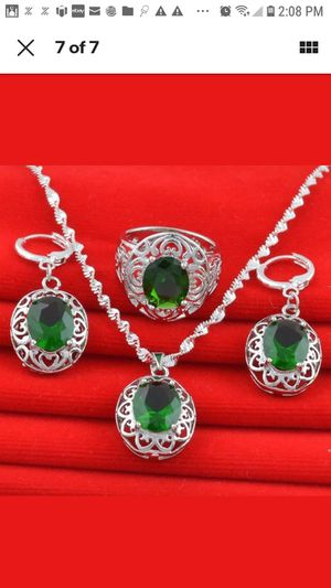 Women Jewelry Set 925 Silver Pendant Necklace Earrings Ring Wedding Gift for Sale in Vallejo, CA