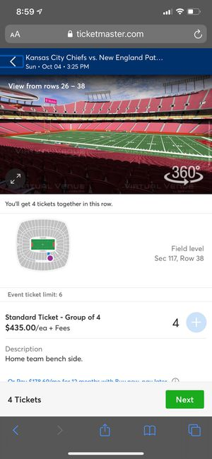 Chiefs vs Pats tickets! for Sale in Kansas City, MO